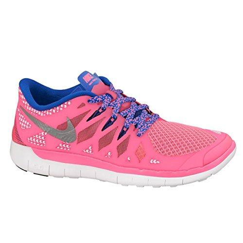 Nike Kids Free 5.0 (GS) Hyper Pink/Mtllc Silver/Gm Ryl/Dp Running Shoe (6)