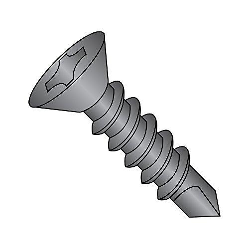 Black Finish Drill - Steel Self-Drilling Screw, Black Oxide Finish, 82 Degree Flat Head, Phillips Drive, #2 Drill Point, #8-18 Thread Size, 3/4