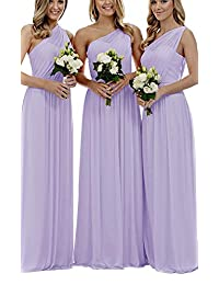 Staypretty Bridesmaid Dresses for Women Long One Shoulder Asymmetric Chiffon Prom Evening Gown