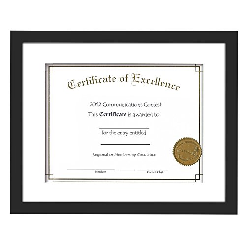 11x14 Document Frames Black with 3 Mats for 5x7, 8x10 or 8.5x11 Documents, Wood Picture Photo Frames