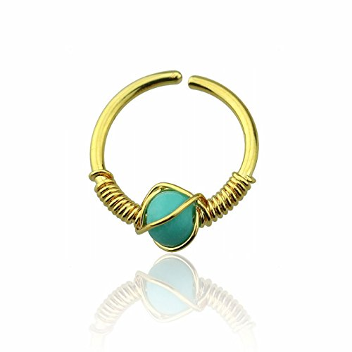al Steel Spiral Wire Nose Hoop Synthetic Turquoise Stone - Gold Plated (Turquoise Nose)