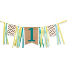 First Birthday Decorations - 1st Birthday - Burlap Highchair Banner for Boy