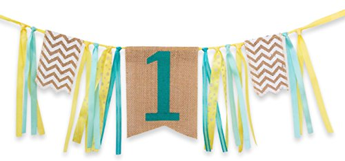 [First Birthday Decorations - 1st Birthday - Burlap Highchair Banner for Boy] (Infant Red Minnie My First Disney Costumes)