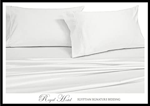 Royal's Solid White 1200 Thread Count 4pc Queen Bed Sheet Set 100% Cotton, Sateen Solid, Deep - Solid Sateen Sheets