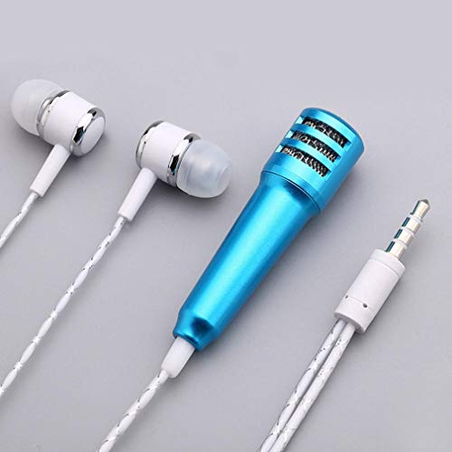 Tpingfe Mini Karaoke Condenser Microphone with Earphone for Phone Computer Mini PhoneMic (Blue)