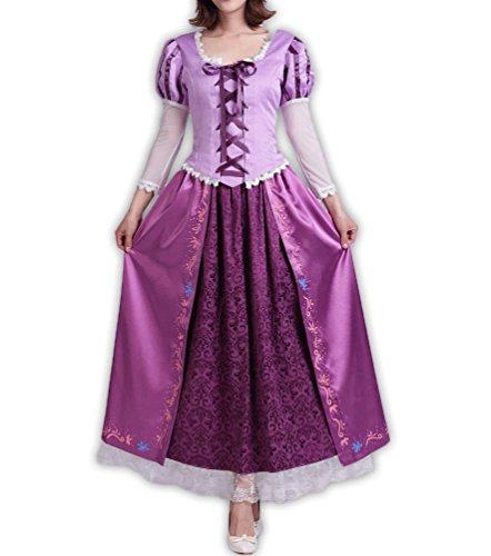 8014 - Tangled Rapunzel Princess Adult Woman Gown Cosplay Dress Purple (5) 1X]()