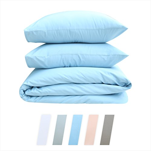Quilt Fabric Check Blue (Best Hotel Luxury Bedding 3-Piece King Blue Duvet Cover Set, 400 TC 100% Long-Staple Combed Cotton Soft, Silky & Breathable Duvet Cover Set, Perfect Cover for your Down Comforter)