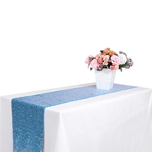 Dingji Multicolor Sequin Satin Table Runner 30x180cm Glitter Wedding Party Banquet Venue Decor (Sky Blue)