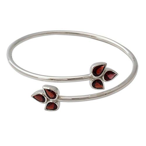 NOVICA Garnet .925 Sterling Silver Bangle Bracelet 'Red - Sterling Garnet Bangles Silver