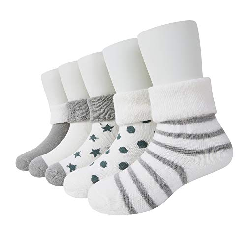 VWU Baby Thick Cuff Cotton Socks 5-pack 7 Color Available Grey 6-12 Months Toddler Infant Baby Girl Baby Boy Socks with Grips Winter Warm Socks Cute Gift Socks
