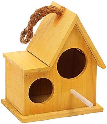 Productos para Mascotas Jaulas para Pájaros Doble Agujero Nido de Ave Loro Cálida Caja de cría Incubadora de Madera Maciza Colgante Jaula de pájaros Mascota Pequeña casa Jaulas para Pájaros: Amazon.es: Hogar