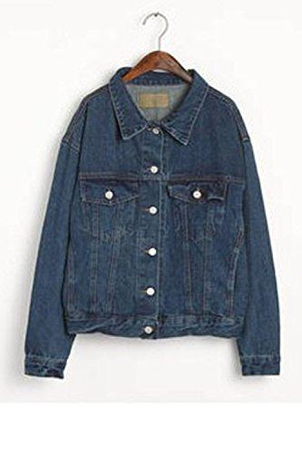 Giacche Alla Blu Perdere Moda Di Le Una Donne Lunga Con La Autunno Manica Jeans Giacca xZOpq