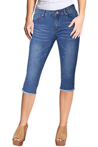 (2LUV Women's Stretchy 5 Pocket Skinny Capri Jeans Medium Denim 7)