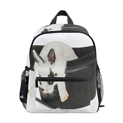 (Kids Backpack White Hat Funny Rabbit School Backpacks Cool Bag Campus Daypack Gift)