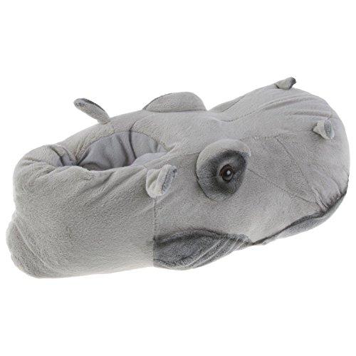 Tierhausschuhe Flusspferd Hippo Tier Hausschuhe Pantoffel Schlappen Kuscheltier Plüsch Unisex Grau 36-48, TH-Hippo Grau