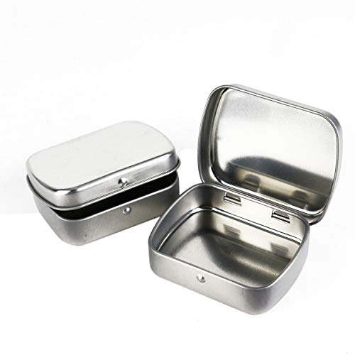 (Monrocco 8Pcs Mini Metal Hinged Lid Tin Containers Portable Small Storage Empty Box, Silver- Hinged Rectangular Storage Boxes for Crafts, Gifts, Candles, Soap, and Other Uses)
