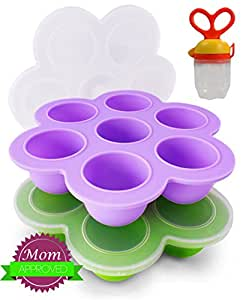 Multiportion Baby Food Freezer Tray, Set of 2. Preserve and Organize with Ease Homemade Wholesome and Delicious Food. Store Safely Your Breast Milk and Puree in BPA-Free Containers with Lid