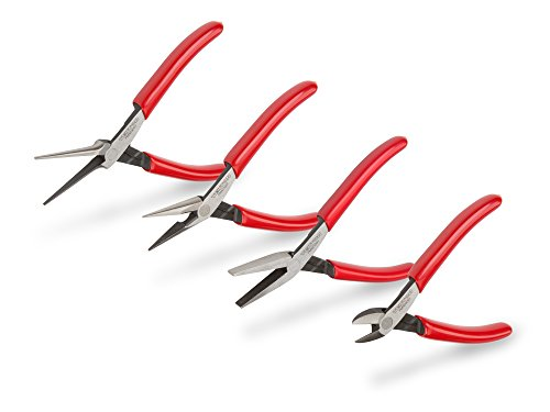TEKTON Mini Pliers Set, 4-Piece (Smooth Jaw Needle Nose, Long Nose, Flat Nose, Cutting) | PMN99004