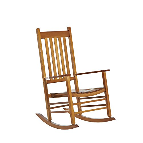 Rocking Chair Natural (Outsunny Porch Rocking Chair - Outdoor Patio Wooden Rocking Chair - Natural Color)