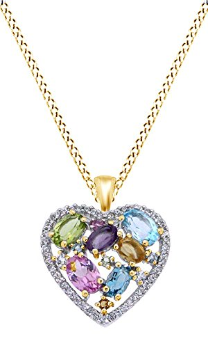 Jewel Zone US Simulated Multi Gemstone Heart Shaped Pendant Necklace with Chain in 14k Yellow Gold Over Sterling Silver ()