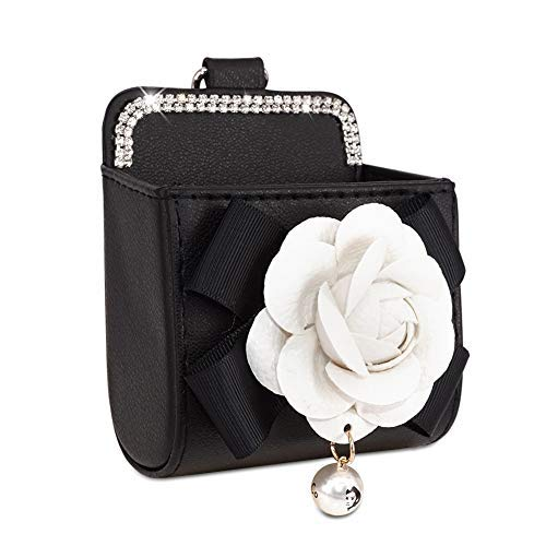 eing Car Outlet Air Vent Trash Box with Camellia Flower for Auto Mobile Phone Holder Pouch Organizer Hanging Storage Bag,White Flower