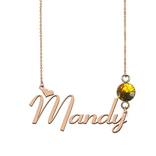 925 Sterling Silver Personalized Name Necklaces Birthstone Charm for Women Mandy from A Missing Dog