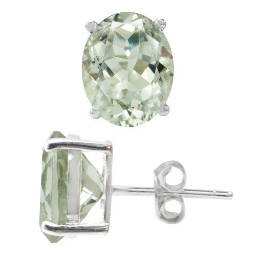4.88ct. Natural Green Amethyst 925 Sterling Silver Stud Earrings (Green Set Wedding Amethyst)