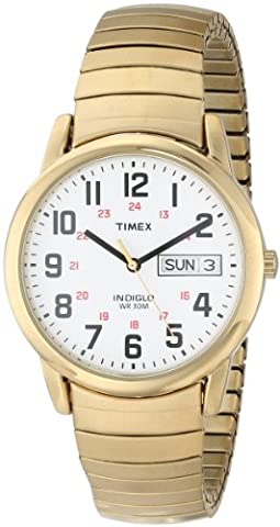 Timex Men's T20471 Easy Reader Gold-Tone Stainless Steel Expansion Band Watch - Timex Water Resistant Watch