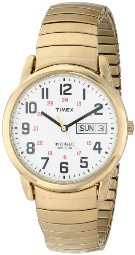 Timex Men's T20471 Easy Reader Gold-Tone Stainless Steel Expansion Band Watch Band Star Wrist Watch