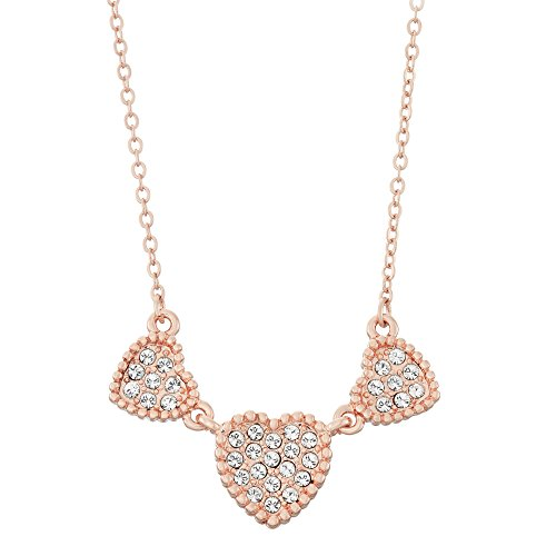 Triple Heart Shapes Pave Crystal Necklace, 16