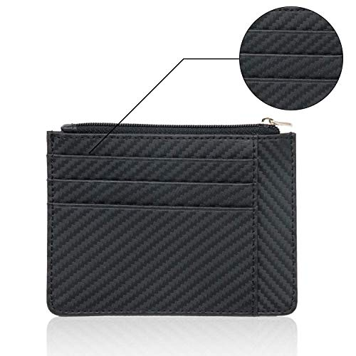 (Slim Wallets RFID Blocking men's Pocket Zip Coin Purse Secure Thin Credit Card)