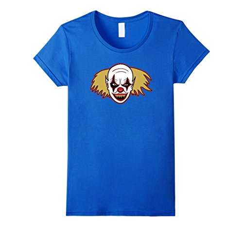 Womens Clown Drawing T-Shirt For Spooky Halloween Costume Party Top XL Royal Blue