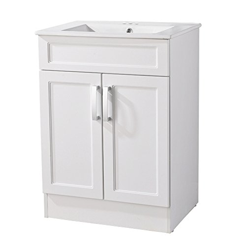 Interiorca Elegant Bathroom Vanity Include Ceramics Sink with 2 doors,White by Interiorca