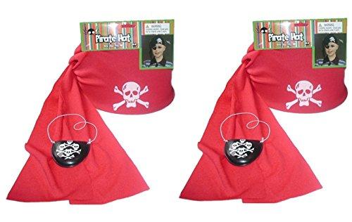 Pair Of 2 Pirate Party Cap / Bandanna - Red Stretch Fabric w/Elastic Headband & Eye Patch Bandana ()