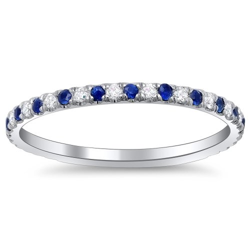 14k White Gold Thin Stackable Pave Sapphire and Diamond Band