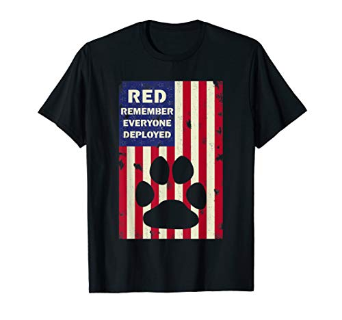(RED Friday Military Service Dogs T-Shirt Veteran Gift Idea)