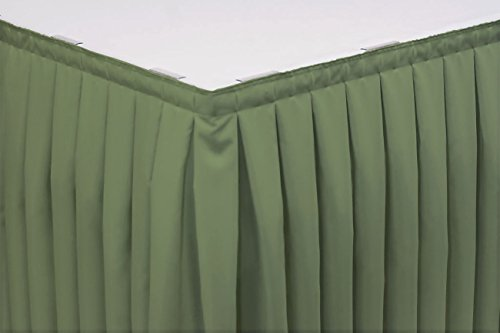 (14 Foot Box Pleat Table Skirt w/ 3/4 Inch Hook-and-Loop Fastener Clips, Spun Polyester, 29 Inch High, Seamist)