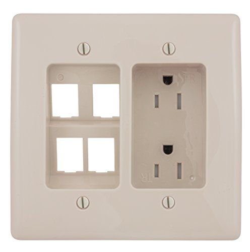 (Bryant Electric RR1514LA 2-Gang Recessed TV Connection Outlet Plate with 15 Amp Tamper-Resistant Duplex Receptacle and One 4-Port Data Jack Opening, Light Almond)