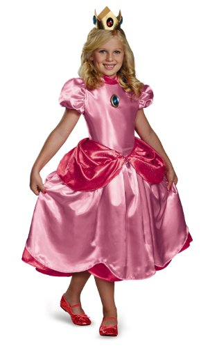 Nintendo Super Mario Brothers Princess Peach Deluxe Girls Costume, (Mario And Peach Costumes)