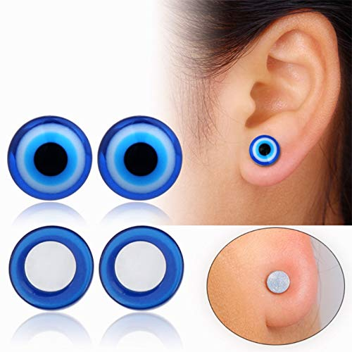 Lottoy 1 Pair Unisex Weight Loss Blue Eyes Shape Ear Stud, Healthy Magnetic Therapy Earrings 10mm, No Piercing by Lottoy (Image #1)