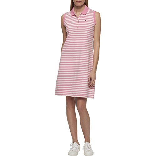 - Tommy Hilfiger Women's Striped Polo Dress (S, Pink/Ivory)