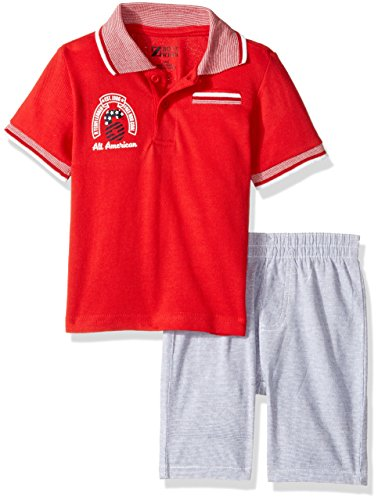 Nannette Baby Boys 2 Piece Polo Shirt and Woven Short Set