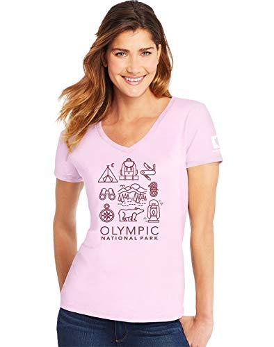 (Hanes Women's Short Sleeve V-Neck T-Shirt, Paleo Pink, Medium)