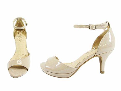 City Classified Womens Strappy Open Toe Low Heel MVE Shoes Beige Patent E2rWxwHV3G