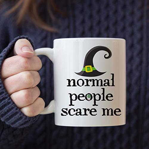 Normal People Scare Me. Halloween Mug with Witch Hat and Eyeball. Funny Mug for Halloween Coffee Station -