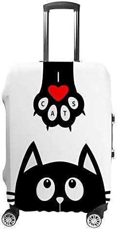 スーツケースカバー トラベルケース 荷物カバー 弾性素材 傷を防ぐ ほこりや汚れを防ぐ 個性 出張 男性と女性赤いハートと足跡を見上げる黒い猫