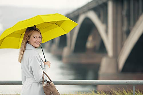 EEZ-Y Compact Travel Umbrella w/Windproof Double Canopy Construction - Auto Open Close (Yellow)