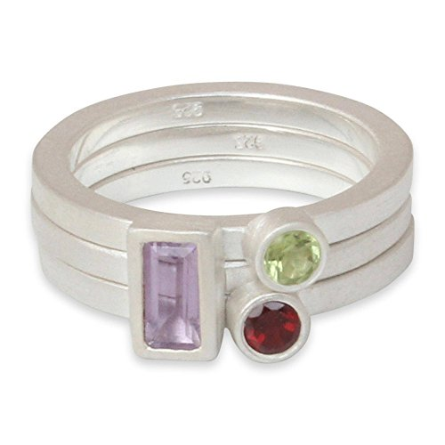 NOVICA Amethyst Garnet Peridot .925 Sterling Silver Stacking Rings, 'Gemstone Geometry' (Set of 3) - Garnet Sterling Silver Designer Ring