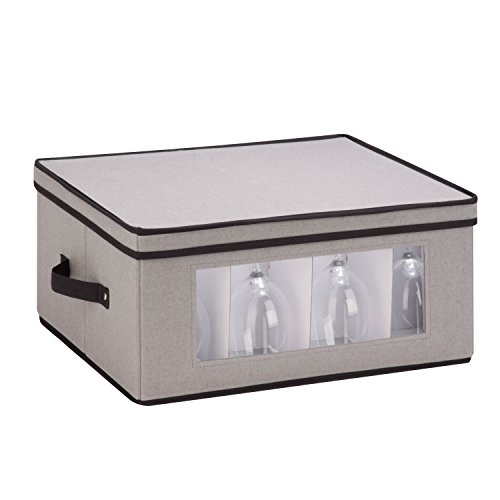 Honey-Can-Do SFT-05379 Large Canvas Stemware Window Storage Chest,, Gray, 18.38 in L x 13.88 in W x 8.5 in - Goblet 8.5 Glass