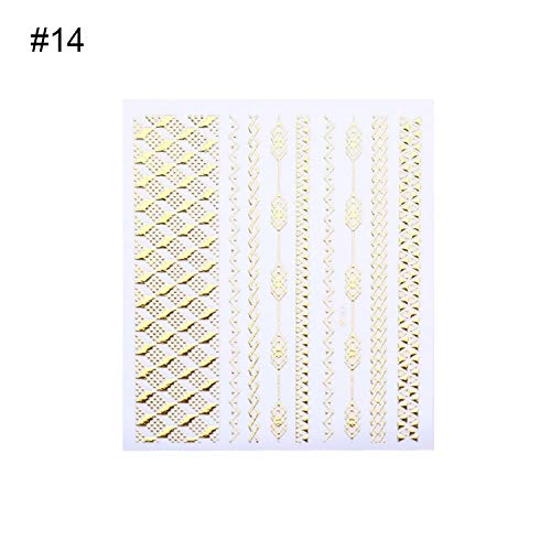 Gold 3D Nail Sticker Lines Strip Geometric Heart Self Adhesive Nail Art Transfer Stickers Manicure Decoration,Pattern 23]()